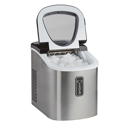 Ice Maker Machine Counter Top 13kg Capacity Fast Compact with Cube Size Option & No Plumbing Required Cooks Professional (Silver)