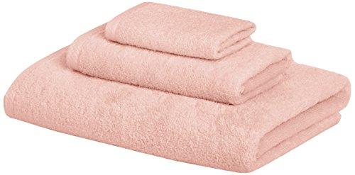 Amazon Basics Quick-Dry Towels - 100% Cotton, 3-Piece Set, Petal Pink