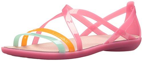 crocs Women's Isabella Cut Strappy Sandal W Flat, paradise pink/rose dust, 11 M US