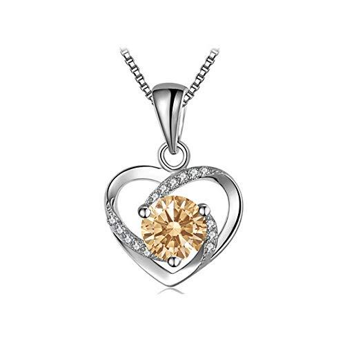 Yasvitti 999 Sterling Silber Herz Halskette Kette für Damen Frauen Schmuck Crystals from Swarovski mit Geschenkbox,Mutterstag,Valentintag (Champagne)