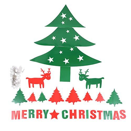 KESYOO 3Pcs Frohe Weihnachten Wandaufkleber mit Schnur Lichtpapier Abnehmbaren Weihnachtsbaum Elch Wandtattoo für Urlaubsparty DIY Hauptdekoration (Grün)