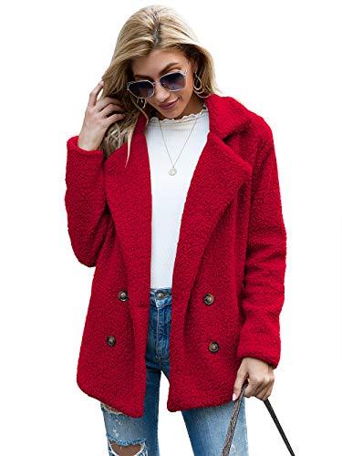 Cappotto Donna Invernale Giacca in Peluche Morbido Caldo a Maniche Lunghe Scollo a Risvolto Outerwear Casual Moda (Rosso, XL)