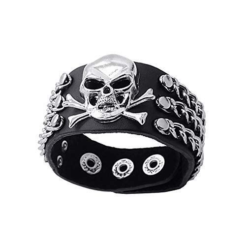León Jewelry Black Skull Bracelet Pirate Rivet Chain Cosplay Costume Leather Cuff Bangle Wristband Adjustable Buttons Punk Goth