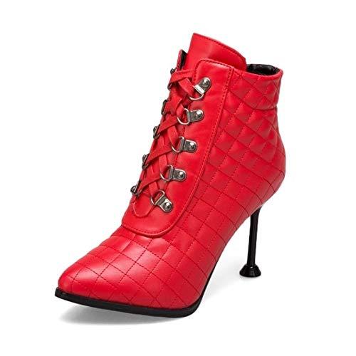 IWxez Dames Fashion Boots PU(Polyurethaan) Herfst & Winter Minimalisme Laarzen Stiletto Heel Aangewezen Teen Booties/Enkellaarzen Zwart/Beige/Licht Rood/Bruiloft/Feest & Avond, Licht Rood, UK9.5