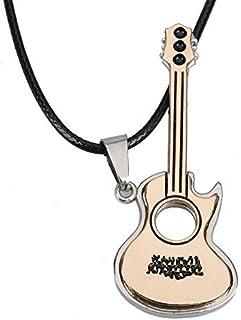 Prosperveil Collar con colgante de guitarra unisex, acero de titanio