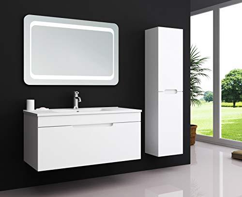 Oimex Kimia 70 cm Badmöbel Set mit LED Spiegel + 1X Seitenschrank Hochglanz Weiß Badezimmer Set mit viel Stauraum LED Waschtisch Keramik Waschbecken