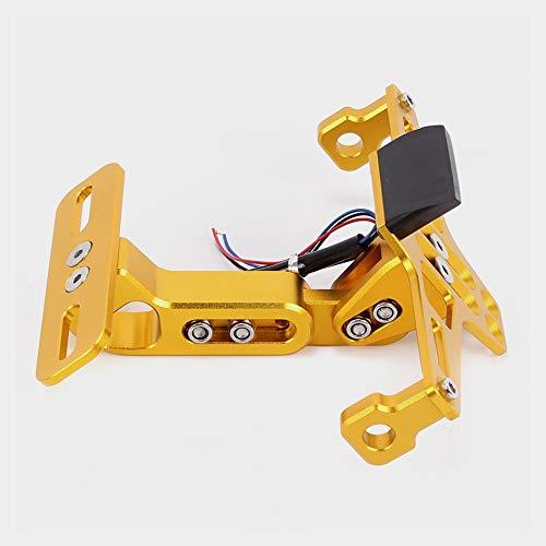 FJY-PIÈCES, Licencia Universal CNC de aluminio ángulo posterior de la motocicleta placa de montaje Bloque de Soporte de la luz blanca de LED de ajuste for un ajuste H-onda for Y-Amaha ajuste for S-Uzu