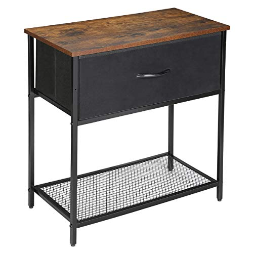Kamiler End Table Industrial Nightstand with Drawer Side Table Mesh Storage Shelf Sofa Table Rustic Furniture Metal Frame for Bedroom/Entryway/Office
