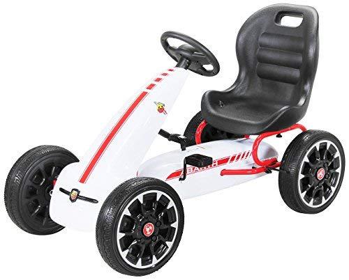 PEQUENENES Kart Coche de Pedales Fiat Abarth de CARS12V, Ruedas neumaticas, carenado de Proteccion, Freno de Mano, Asiento Regulable (Blanco)