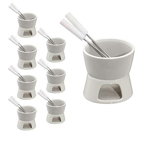 Cepewa Keramik Schokofondue Set Fondue-Set Schokolandenfondue weiß inkl. 2 Edelstahlgabeln (8 x Schokofondue-Set)