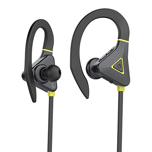 OPAKY Wireless Bluetooth 5.0 Sports Headset - Auriculares de Graves Impermeables y duraderos, para iPhone, iPad, Samsung, Huawei, Tablet, etc. Amarillo