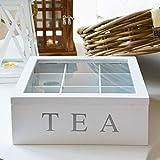 Caja de té, caja de almacenamiento de té de madera, 9 compartimentos para bolsas de té de madera, diseño de tapa transparente, perfecto para organizar paquetes de té cremas de azúcar y café