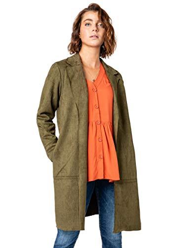 Sublevel Damen Mantel aus Veloursleder-Imitat Offen Dark-Green M