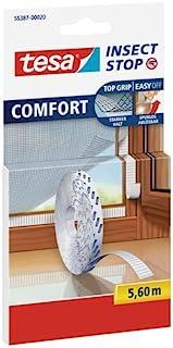 Tesa Insect Stop Comfort vliegenscherm voor ramen en insectenbescherming vervanging rol in wit 5,6 m, Klettband Ersatzroll...