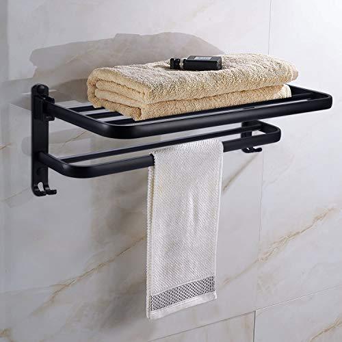 Handtuchhalter Ohne Bohren Handtuchstange selbstklebend Handtuch Halter Badezimmer Ablage Wandmontage Aluminium Badetuchhalter mit 2 Haken Verstellbarer Stange für Bad Küchen Toilette