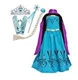 Cokos Box Girls Coronation Dress Cape Tiara Crown Gloves Snowflake Wand Braid Wig Set, 4-5T, Blue Purple