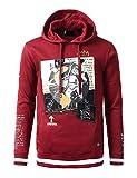 URBANCREWS Mens Hipster Hip Hop Space Man Print Patched Hoodie - Burgundy - S