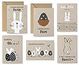 KuschelICH 12er Osterkarten-Set - 8 Postkarten, 4 Klappkarten mit Umschlag - 6 unterschiedliche Motive je 2 Stück (Kraft)