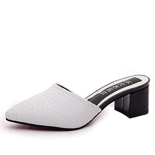 COQUI Sandalia Art Mujer,Zapatillas Nueva versión Coreana de los Gruesos Puntiagudos con Zapatos de Mujer-Blanco_40
