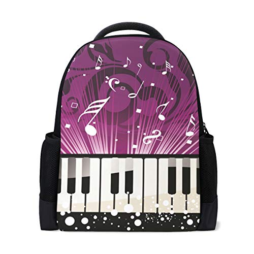 Mochila escolar, nota musical de piano, colegio, hombros, bolsas de libros escolares,...