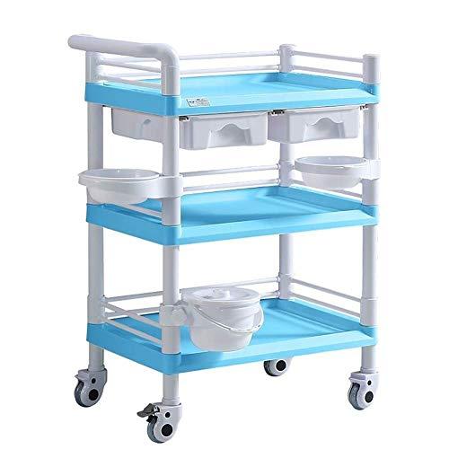 WJY Carro, Comedor Carro médico Carro Diner Blue Beauty Trolley, Carro rodante médico de 3 estantes para laboratorio de tratamiento, Carro médico resistente, Carga de 330 lb,Los 65x45x98cm