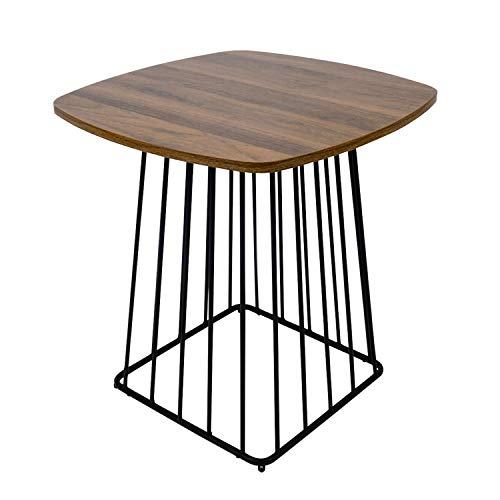 Moncot ET391-WN - Mesa auxiliar cuadrada con estructura de metal negro, mesa de café con tablero vintage de madera de nogal para salón o oficina