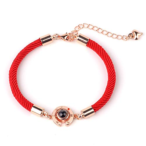 HMYDZ Women's Lucky Red Handmade Rope Bracelet for Women Men Fashion Romantic Lover Couple 100 Language I Love You Projection Bracelet Gifts (Color : B01)