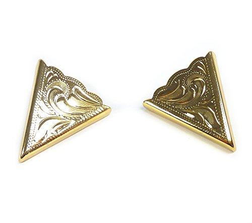 Rodeo Ready Kragenecken Gold Plated Engraved Kragenecken Kragenspitzen Collar tips Westernschmuck Westernasseccoires für Westernhemden Gold