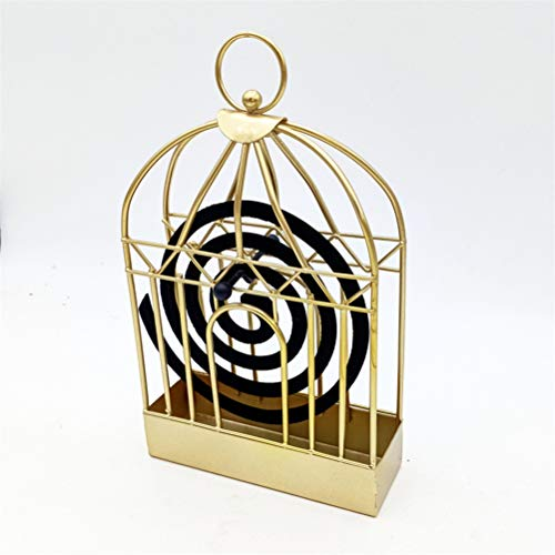 Flybloom Iron Art Mosquito Coil Holder Bird Cage Shape Mosquito Repellent Incense Shelf Home Ornament(Golden Color)