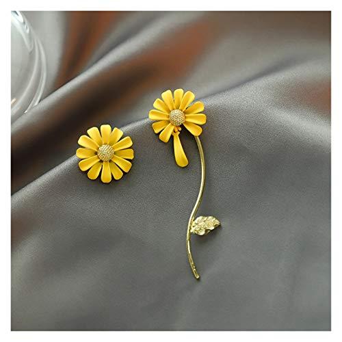 DSJTCH Moda Long Branch Flower Stud Pendientes Nuevo Diseño Asimétrico Asimétrico Pendientes Pendientes Pequeños Femeninos Joyería (Metal Color : 2)