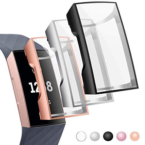 CAVN Schutzhülle Kompatibel mit Fitbit Charge 3 /Charge 4 Schutzfolie Hülle (3-Stück), Flexibles TPU Ultradünner Vollschutz Gehäuse Bumper Stoßfestes Displayschutz Schutz Hülle für Charge 3/Charge 4