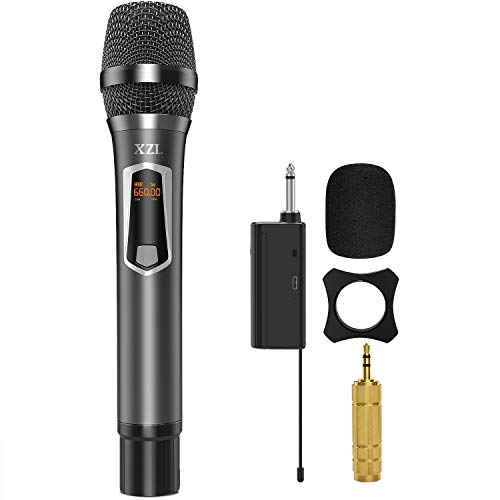 Wireless Microphone with Rechargeable, UHF Wireless Single Handheld Dynamic Metal Mic System with Receiver, 6.35mm(1/4'') Plug, for Home Karaoke, Voice Amplifier, PA System, Singing, Wedding Church