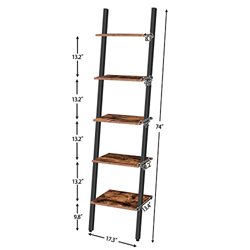 HOOBRO Ladder Shelf, 5-Tier Narrow Bookshelf Leaning-Against-Wall, Stable Plant Flower Stand, Sloping Bookcase, Multipurpose Accent Storage Rack for Living Room, Kitchen, Office, Rustic Brown BF71CJ01