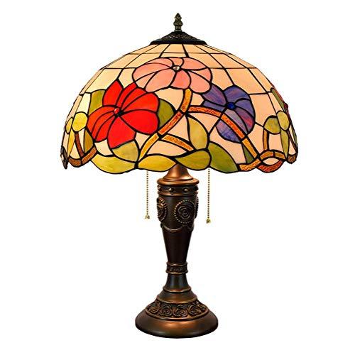 WEI-LUONG Lámpara de Mesa Morning Glory Shade 16 Pulgadas Stained Glass Lámparas de Mesa de Habitaciones (40 cm) Vida de la lámpara lámpara de cabecera LED