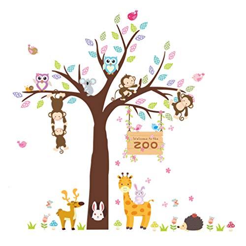 ElecMotive Forest Animal Giraffe Monkey Owls Hedgehog Rabbit Tree Nursery Wall Stickers Wall Murals DIY Posters Vinyl Removable Art Wall Decals for Kids Girls Room Decoration (Zoo)