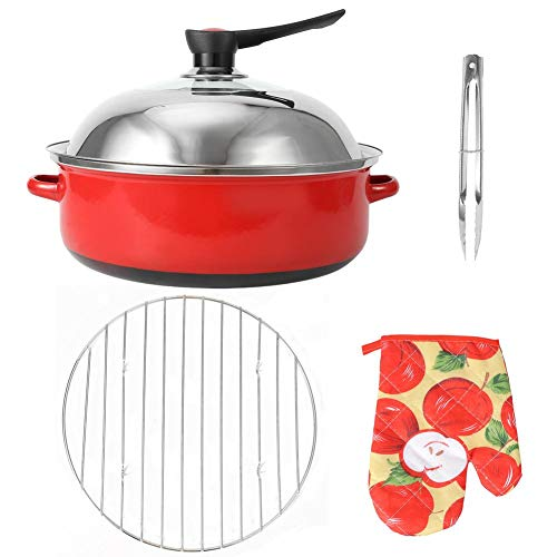 Round Roasting Pan Set Baking Pot with Wire Rack and Lid Non Stick Grilling Pans Barbecue Turkey Chicken Vegetable Roasting Pots for Household Camping Stove Top Ovens Gas Grill (Red)