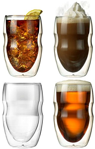 Ozeri Serafino Double Wall Insulated Beverage and Coffee Glasses, 12-Ounce, Set of 4