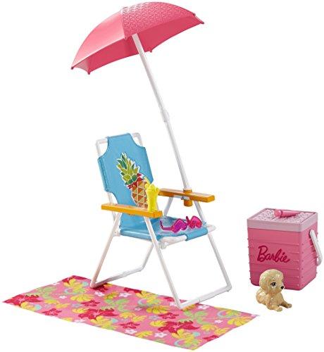 Barbie Mattel DVX49 - Möbel Außenbereich: Strandausflug Set, Ankleidepuppen-Zubehör