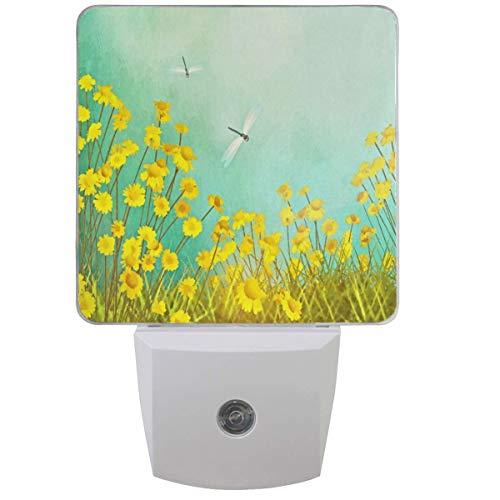 Pissenlit libellule tournesols veilleuse Plug in Set de 1 garçons filles bébés printemps fleurs veilleuses Auto Motion Senor