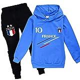 Xpialong - Chándal de fútbol de Francia con 2 estrellas, para niñas, primavera Juego de 04 unidades 10-11 años