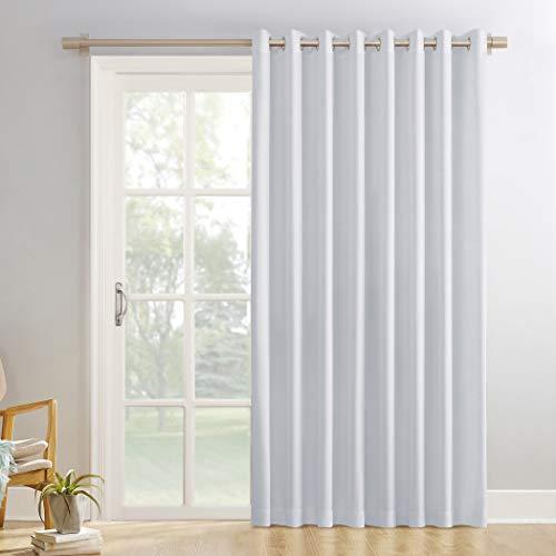 """Sun Zero Easton Extra-Wide Blackout Grommet Sliding Patio Door Curtain Panel, 100"""" x 84"""" Door, Dove White"""