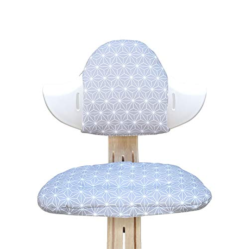 Blausberg Baby - BESCHICHTET - Sitzkissen Set für Nomi Hochstuhl von Evomove - Happy Star Grau
