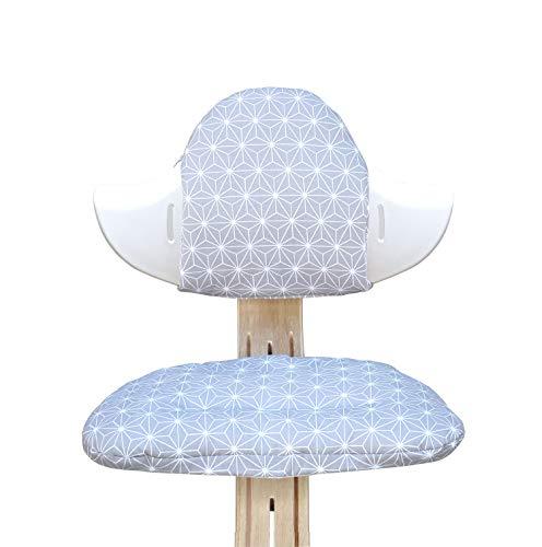 Blausberg Baby - Sitzkissen Set für Nomi Hochstuhl von Evomove - BESCHICHTET Happy Star Grau