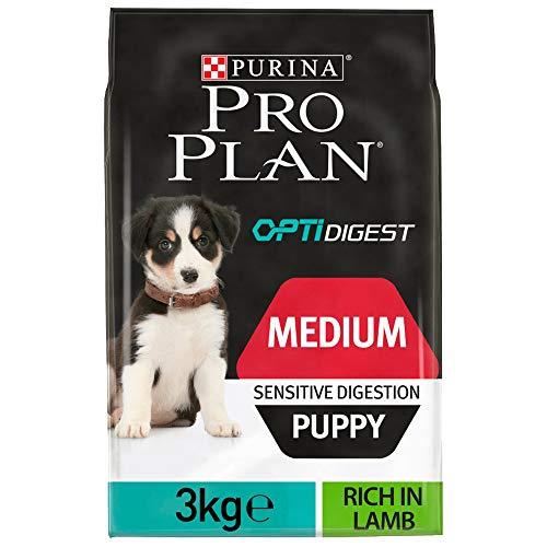 PURINA Pro Plan Comida Seco para Cachorro Mediano con Digestión Sensible con Optidigest, Sabor Cordero - 3 Kg ⭐