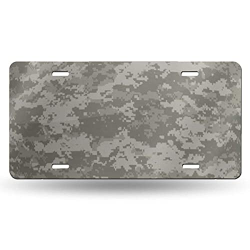AetherTime Metal License Plate,Fashion Decorative Car Tag License Plates Navy Camo Digital Camouflage Patterns Universal Palette Military Army ACU