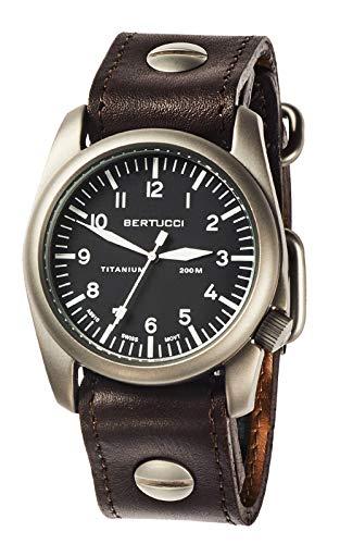 Bertucci 13403 A-4T Herren titanio Braun Lederband Schwarz Dial Vintage 44...