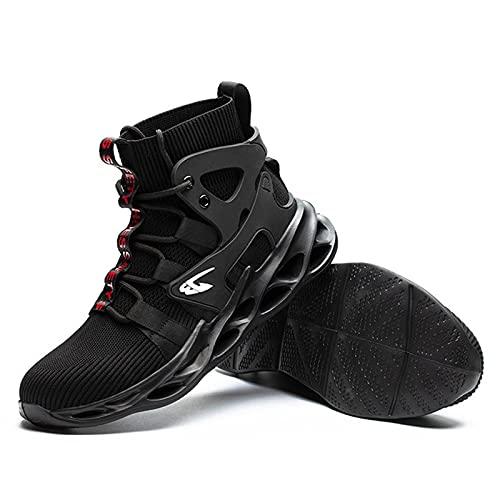 Zapatillas de Seguridad Hombre Zapatos de Mujer Antideslizante Transpirable Zapatos de Trabajo Calzado de Trabajo Ultra Liviano Suave y Cómodo Deportes Unisex,Zapatos de construcción,Negro,Gris