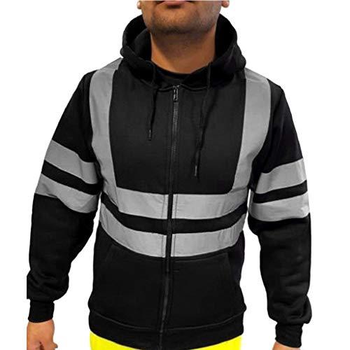 SHOBDW Hombres Trabajo en la Calle Jersey de Alta Visibilidad al Aire Libre Tallas Grandes Camisetas de Manga Larga Sudadera Suelta Blusa Otoño Invierno Abrigos de Gran tamaño