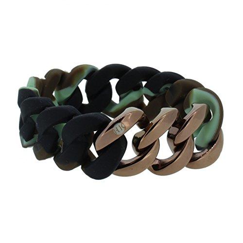 Hanse-Klunker Armband Damen ORIGINAL Silikon Muster Camouflage, Edelstahl Bronze Frauen Mädchen Größe 18-19 cm inkl. Schmuck-Geschenk-Box