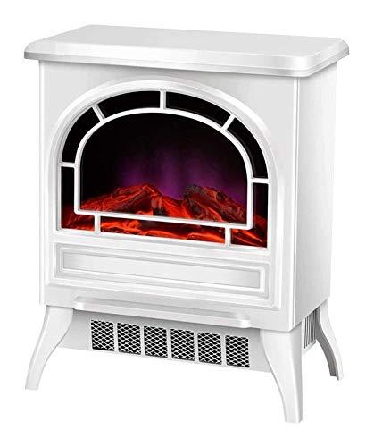 PULLEY-E - Estufa eléctrica portátil para chimenea, calefacción independiente, estilo vintage con puerta de apertura, realista, estufa E (color: blanco-mecánico)
